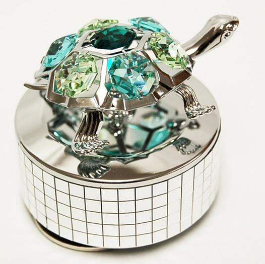 Turtle Music Box Swarovski Crystals