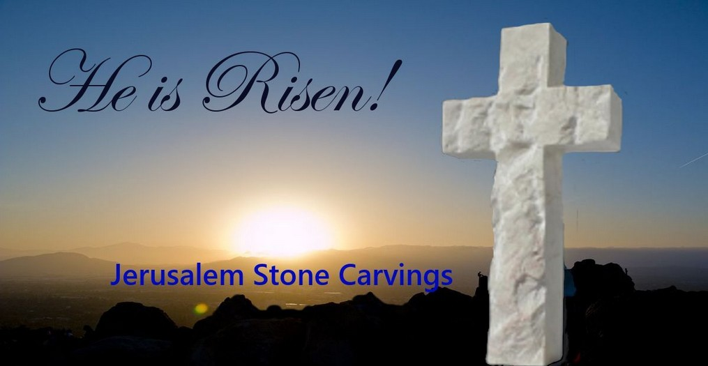 Holyland Stone Cross - He is Risen