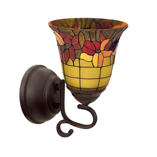 Tuscany Faux Stained Glass Flameless Oil Rubbed Sconce