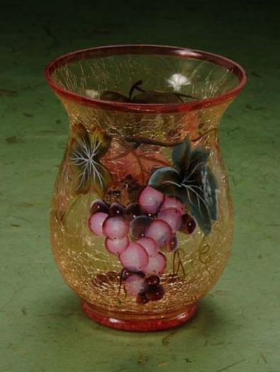 Murano Glass Vase W/ Beautiful Grapes Decor