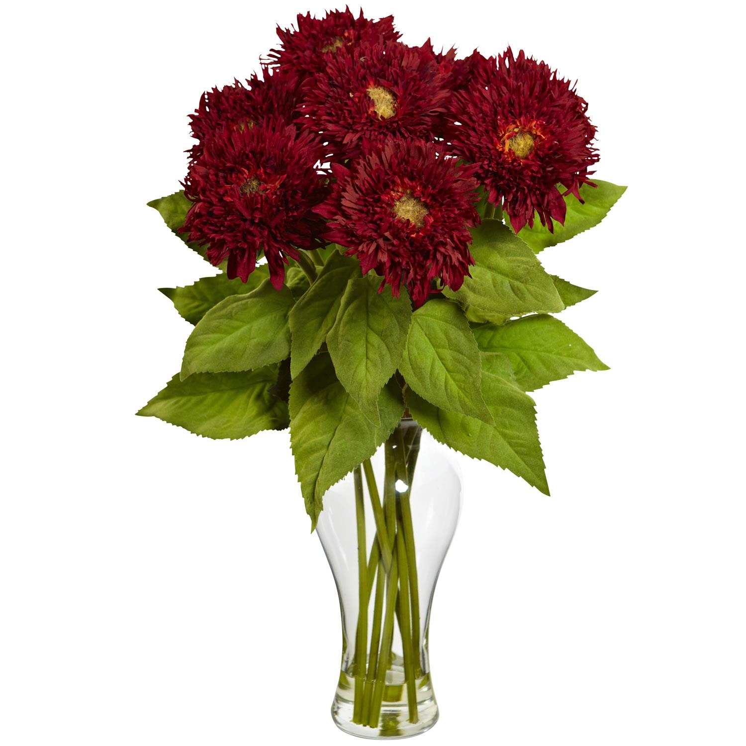 Red sunflower arrangement w vase
