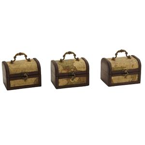 Decorative Chest with Map (Set of 3)