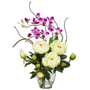 White Peony & Orchid Silk Flower Arrangement