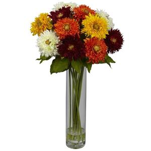 Assorted Sunflower w/Cylinder Silk Flower Arrangement