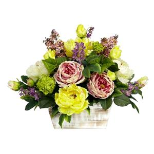 Mixed Floral w/Whitewash Planter Silk Arrangement