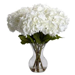 Large Hydrangea w/Vase Silk Flower Arrangement