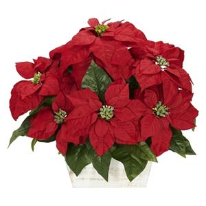 Poinsettia with White Wash Planter Silk Arrangement