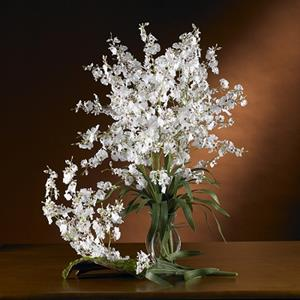 White Dancing Lady Silk Orchid Flower (6 Stems)