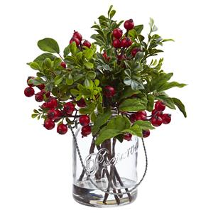 Berry Boxwood in Glass Jar