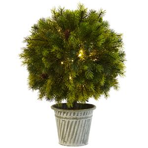 18'' Pine Ball in Iron Top - LED Lights