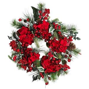 22 Inch Hydrangea Holiday Wreath