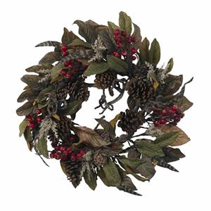 24'' Pinecone, Berry & Feather Wreath