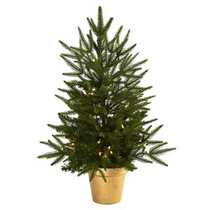 2.5' Christmas Tree with Golden Planter & Clear Lights