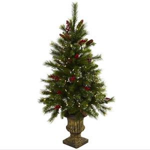 4' Christmas Tree with Berries, Pine Cones, LED Lights & Decorative Urn