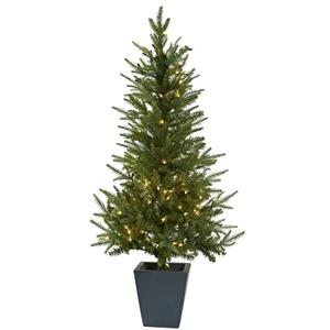 4.5' Christmas Tree with Clear Lights & Decorative Planter