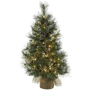 3' Christmas Tree with Clear Lights, Frosted Tips, Pine Cones & Burlap Bag