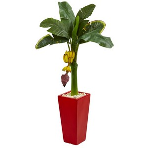 4' Banana Artificial Tree in Red Tower Planter