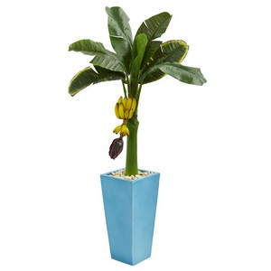 4' Banana Artificial Tree in Turquoise Tower Vase