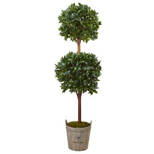 6' Double Ball Topiary Tree with European Barrel Planter