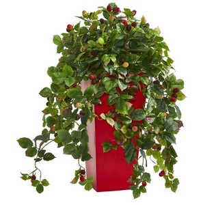3' Raspberry Artificial Plant in Red Tower Planter