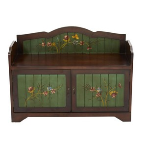 36 Inch Antique Floral Art Bench with Drawers