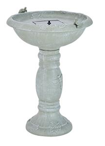 Country Gardens Solar Birdbath - Weathered Stone