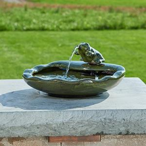 Ceramic Frog Solar Fountain