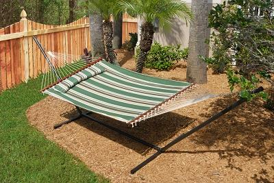 Nantucket Reversible Double Hammock - Elm Green Stripe and Solid