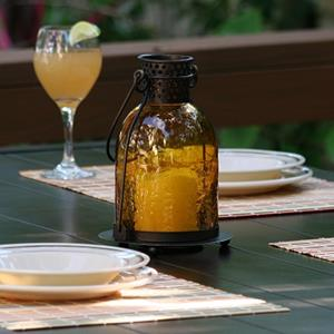 Monaco Glass LED Candle Lantern - Amber