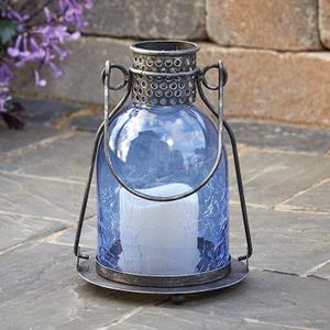 Monaco Glass LED Candle Lantern - Blue