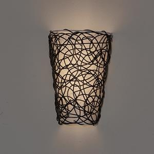 Wireless White Shade with Black Wicker and Flicker Sconce