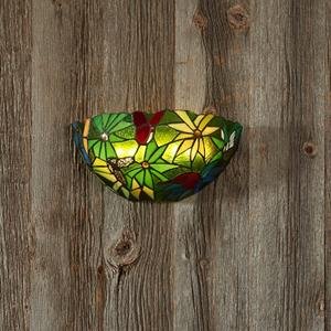 Wireless Stained Glass Half Moon Rain Forest Sconce