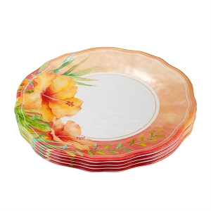 Melamine 11-inch Dinner Plate - Hibiscus - Set of 4