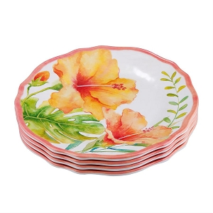 Melamine 8.75 Inch Dinner Plate - Hibiscus - Set of 4