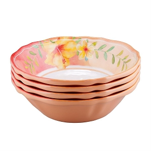 Melamine 7-inch Bowl - Hibiscus - Set of 4