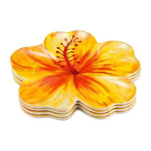 Melamine 8.5 Inch Plates - Tropical Hibiscus - Set of 4