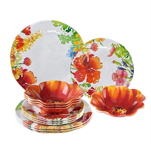 Melamine Floral Dinnerware - 4 Place Settings