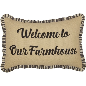 Ashmont Burlap Vintage Welcome to Our Farmhouse Pillow 14 x 22