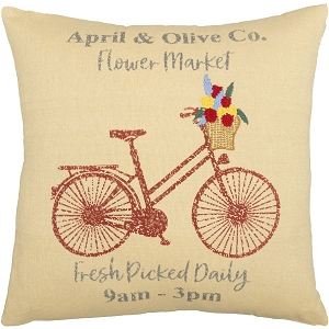 Farmer's Market Flower Market Pillow 18 x 18