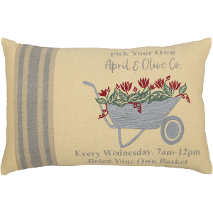 Farmer's Market Wheelbarrow Pillow 14 x 22