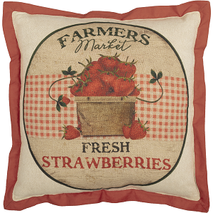 Farmer's Market Fresh Strawberries Pillow  --  12 x 12