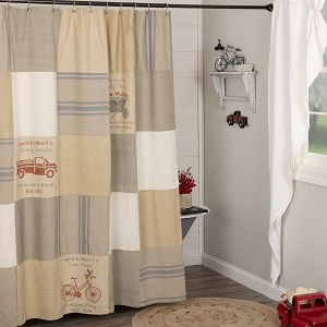 Farmer's Market Stenciled Patchwork Shower Curtain
