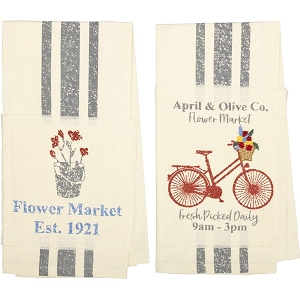 Farmer's Market Flower Market Unbleached Natural Muslin Tea Towel Set of 2