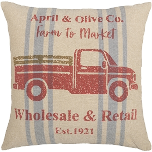 Farmer's Market Delivery Truck Pillow 18 x 18