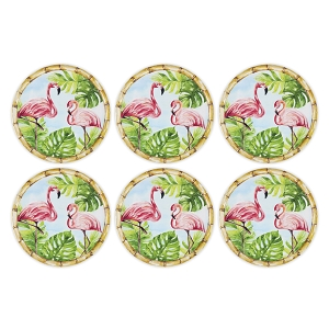 Bamboo and Flamingo Melamine Plate - 11 inch Set of 6