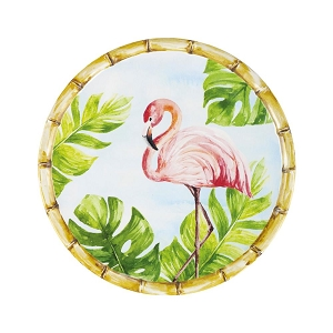 Bamboo Flamingo 9-inch Melamine Plate Set of 6