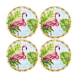 Bamboo Flamingo Melamine 6 Inch Plate - Set of 4