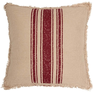Vintage Burlap Stripe Pillow - Green or Red