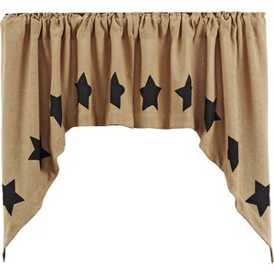 Burlap Natural Swag Set with Black Stencil Stars