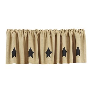 Burlap Natural Valance with Black Stencil Stars